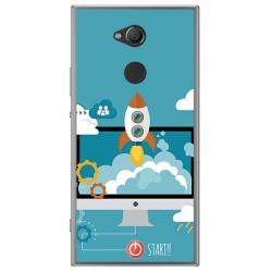Funda Gel Tpu para Sony Xperia XA2 Diseño Cohete Dibujos