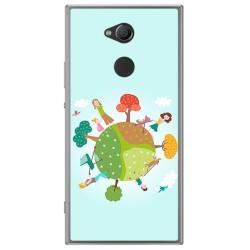 Funda Gel Tpu para Sony Xperia XA2 Diseño Familia Dibujos