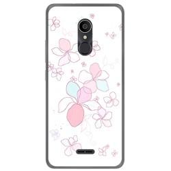 Funda Gel Tpu para Alcatel 3C Diseño Flores Minimal Dibujos
