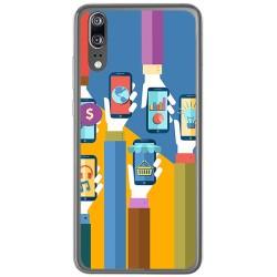 Funda Gel Tpu para Huawei P20 Diseño Apps Dibujos