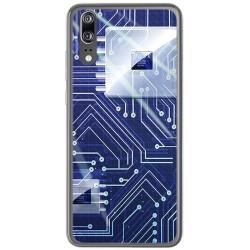 Funda Gel Tpu para Huawei P20 Diseño Circuito Dibujos