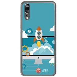 Funda Gel Tpu para Huawei P20 Diseño Cohete Dibujos