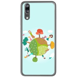 Funda Gel Tpu para Huawei P20 Diseño Familia Dibujos
