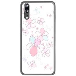 Funda Gel Tpu para Huawei P20 Diseño Flores Minimal Dibujos