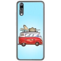 Funda Gel Tpu para Huawei P20 Diseño Furgoneta Dibujos