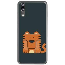 Funda Gel Tpu para Huawei P20 Diseño Tigre Dibujos