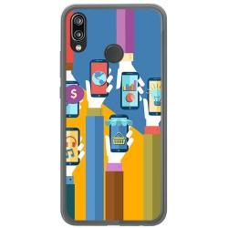 Funda Gel Tpu para Huawei P20 Lite Diseño Apps Dibujos