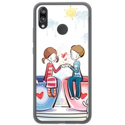 Funda Gel Tpu para Huawei P20 Lite Diseño Cafe Dibujos
