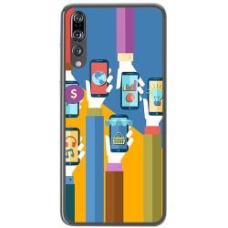 Funda Gel Tpu para Huawei P20 Pro Diseño Apps Dibujos