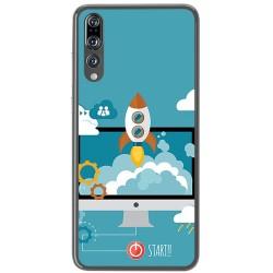 Funda Gel Tpu para Huawei P20 Pro Diseño Cohete Dibujos