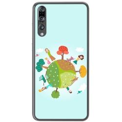 Funda Gel Tpu para Huawei P20 Pro Diseño Familia Dibujos
