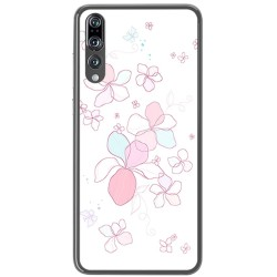 Funda Gel Tpu para Huawei P20 Pro Diseño Flores Minimal Dibujos