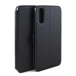 Funda Soporte Piel Negra para Huawei P20 Flip Libro