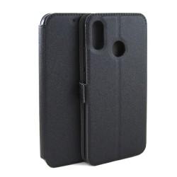 Funda Soporte Piel Negra para Huawei P20 Lite Flip Libro