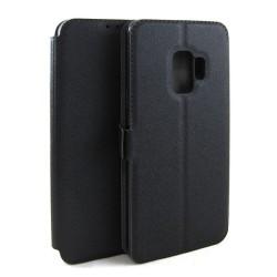 Funda Soporte Piel Negra para Samsung Galaxy S9 Flip Libro