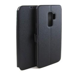 Funda Soporte Piel Negra para Samsung Galaxy S9 Plus Flip Libro