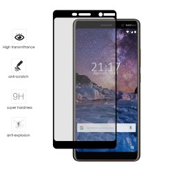 Protector Cristal Templado Frontal Completo Negro para Nokia 7 Plus  Vidrio