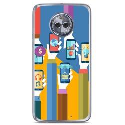Funda Gel Tpu para Motorola Moto X4 Diseño Apps Dibujos