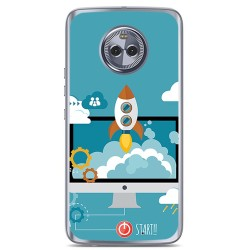 Funda Gel Tpu para Motorola Moto X4 Diseño Cohete Dibujos