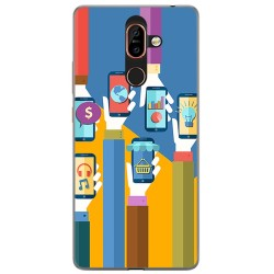 Funda Gel Tpu para Nokia 7 Plus Diseño Apps Dibujos