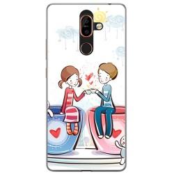 Funda Gel Tpu para Nokia 7 Plus Diseño Cafe Dibujos
