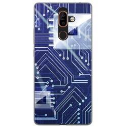 Funda Gel Tpu para Nokia 7 Plus Diseño Circuito Dibujos