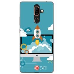 Funda Gel Tpu para Nokia 7 Plus Diseño Cohete Dibujos