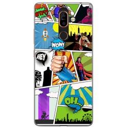 Funda Gel Tpu para Nokia 7 Plus Diseño Comic Dibujos