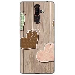 Funda Gel Tpu para Nokia 7 Plus Diseño Corazones Madera Dibujos