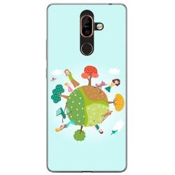 Funda Gel Tpu para Nokia 7 Plus Diseño Familia Dibujos