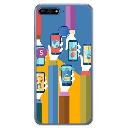 Funda Gel Tpu para Huawei Honor 7A / Y6 2018 Diseño Apps Dibujos