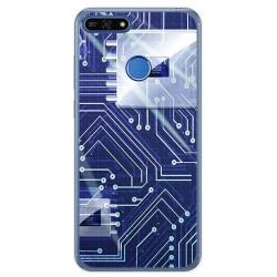 Funda Gel Tpu para Huawei Honor 7A / Y6 2018 Diseño Circuito Dibujos