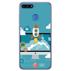 Funda Gel Tpu para Huawei Honor 7A / Y6 2018 Diseño Cohete Dibujos