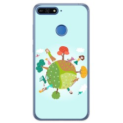 Funda Gel Tpu para Huawei Honor 7A / Y6 2018 Diseño Familia Dibujos