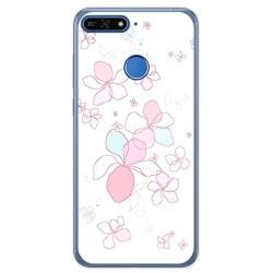 Funda Gel Tpu para Huawei Honor 7A / Y6 2018 Diseño Flores Minimal Dibujos
