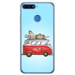 Funda Gel Tpu para Huawei Honor 7A / Y6 2018 Diseño Furgoneta Dibujos
