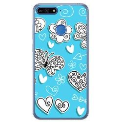 Funda Gel Tpu para Huawei Honor 7A / Y6 2018 Diseño Mariposas Dibujos