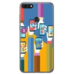 Funda Gel Tpu para Huawei Honor 7C / Y7 2018 Diseño Apps Dibujos