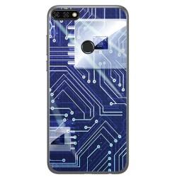 Funda Gel Tpu para Huawei Honor 7C / Y7 2018 Diseño Circuito Dibujos