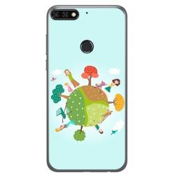 Funda Gel Tpu para Huawei Honor 7C / Y7 2018 Diseño Familia Dibujos