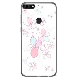 Funda Gel Tpu para Huawei Honor 7C / Y7 2018 Diseño Flores Minimal Dibujos