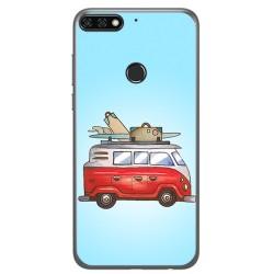 Funda Gel Tpu para Huawei Honor 7C / Y7 2018 Diseño Furgoneta Dibujos