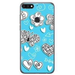 Funda Gel Tpu para Huawei Honor 7C / Y7 2018 Diseño Mariposas Dibujos