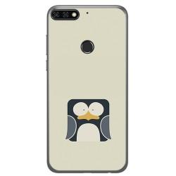 Funda Gel Tpu para Huawei Honor 7C / Y7 2018 Diseño Pingüino Dibujos