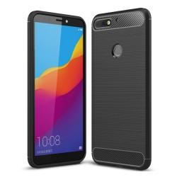Funda Gel Tpu Tipo Carbon Negra para Huawei Honor 7C / Y7 2018