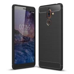 Funda Gel Tpu Tipo Carbon Negra para Nokia 7 Plus