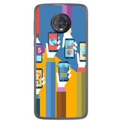 Funda Gel Tpu para Motorola Moto G6 Diseño Apps Dibujos