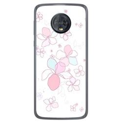 Funda Gel Tpu para Motorola Moto G6 Diseño Flores Minimal Dibujos