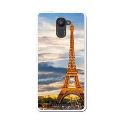 Funda Gel Tpu para Bq Aquaris U Plus Diseño Paris Dibujos