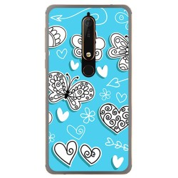 Funda Gel Tpu para Nokia 6.1 (2018) Diseño Mariposas Dibujos